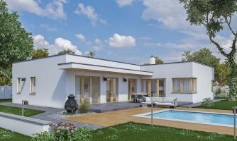 Moderný dom v tvare L s rohovými oknami a s krytým stáním pre auto, obytné miestnosti sú orientované do záhrady.