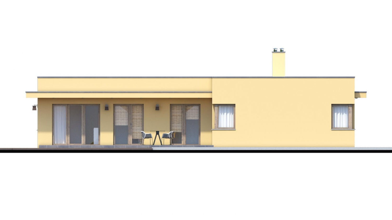 Pohľad 4. - Moderný dom v tvare L s rohovými oknami a s krytým stáním pre auto. Obytné miestnosti sú orientované do záhrady.