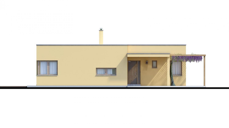 Pohľad 1. - Moderný dom v tvare L s rohovými oknami a s krytým stáním pre auto. Obytné miestnosti sú orientované do záhrady.