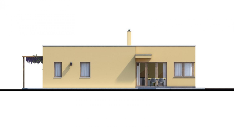Pohľad 3. - Moderný dom v tvare L s rohovými oknami a s krytým stáním pre auto, obytné miestnosti sú orientované do záhrady.
