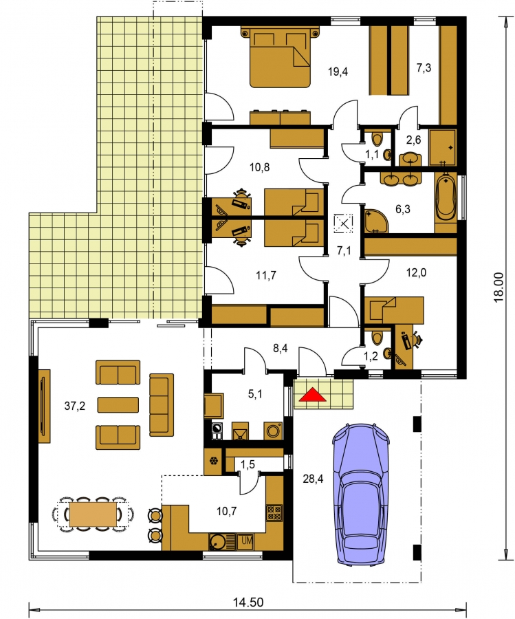 Pôdorys Prízemia - Moderný dom v tvare L s rohovými oknami a s krytým stáním pre auto. Obytné miestnosti sú orientované do záhrady.