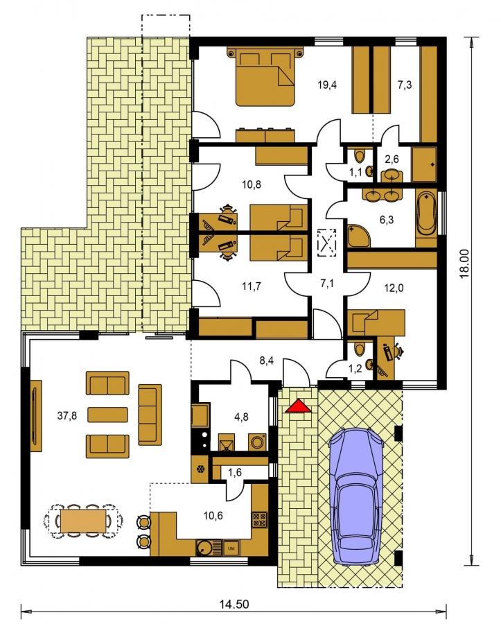 Pôdorys Prízemia - Moderný dom v tvare L s rohovými oknami a s krytým stáním pre auto, obytné miestnosti sú orientované do záhrady.