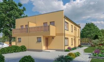 Rodinný dvojdom so štyrmi samostatnými bytovými jednotkami. Každý z bytov má vytvorenú samostatnú vonkajšiu terasu.