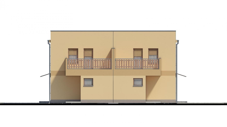 Pohľad 1. - Rodinný dvojdom pozostávajúci z dvoch identických, zrkadlovo otočených RD.