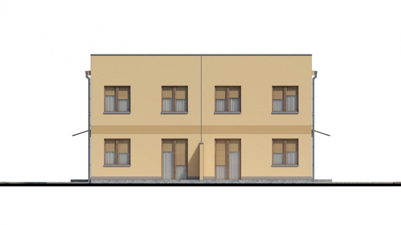 Pohľad 3. - Rodinný dvojdom pozostávajúci z dvoch identických, zrkadlovo otočených RD.