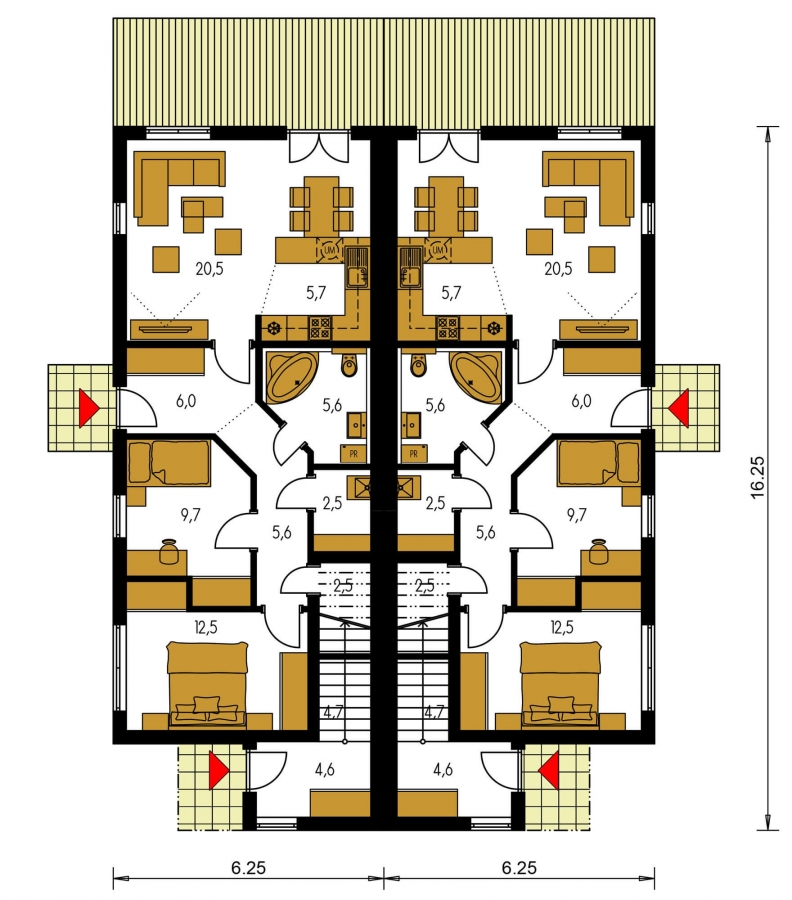 Pôdorys Prízemia - Rodinný dvojdom pozostávajúci z dvoch identických, zrkadlovo otočených RD.