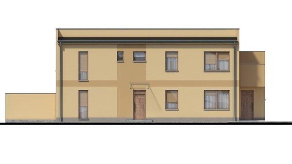Pohľad 1. - Rodinný dvojdom so štyrmi samostatnými bytovými jednotkami. Každý z bytov má vytvorenú samostatnú vonkajšiu terasu.
