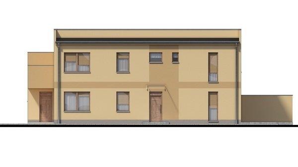 Pohľad 2. - Rodinný dvojdom so štyrmi samostatnými bytovými jednotkami. Každý z bytov má vytvorenú samostatnú vonkajšiu terasu.