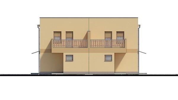 Pohľad 3. - Rodinný dvojdom so štyrmi samostatnými bytovými jednotkami. Každý z bytov má vytvorenú samostatnú vonkajšiu terasu.