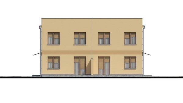 Pohľad 4. - Rodinný dvojdom so štyrmi samostatnými bytovými jednotkami. Každý z bytov má vytvorenú samostatnú vonkajšiu terasu.