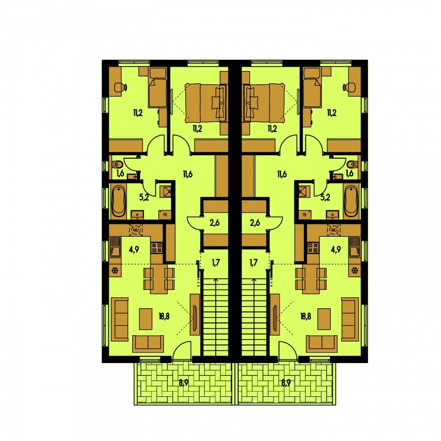 Pôdorys Poschodia - Rodinný dvojdom so štyrmi samostatnými bytovými jednotkami. Každý z bytov má vytvorenú samostatnú vonkajšiu terasu.