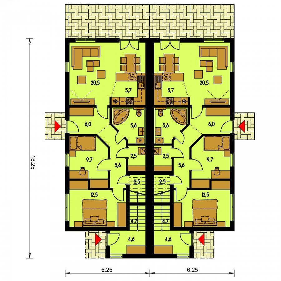 Pôdorys Prízemia - Rodinný dvojdom so štyrmi samostatnými bytovými jednotkami. Každý z bytov má vytvorenú samostatnú vonkajšiu terasu.