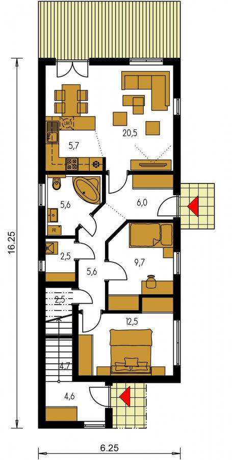 Pôdorys Prízemia - Murovaný dom s dvoma bytovými jednotkami a samostatnými vstupmi.