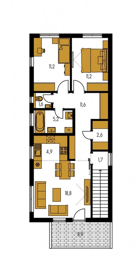 Pôdorys Poschodia - Murovaný dom s dvoma bytovými jednotkami a samostatnými vstupmi.