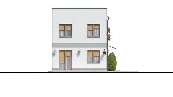 Pohľad 1. - Murovaný dom s dvoma bytovými jednotkami a samostatnými vstupmi. Dom môže byť zrealizovaný aj s pultovou strechou, prípadne valbovou.