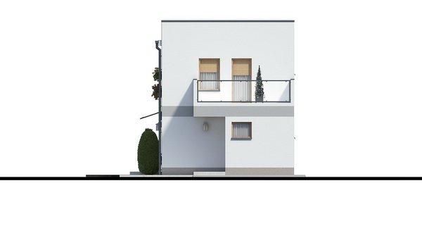 Pohľad 2. - Murovaný dom s dvoma bytovými jednotkami a samostatnými vstupmi. Dom môže byť zrealizovaný aj s pultovou strechou, prípadne valbovou.