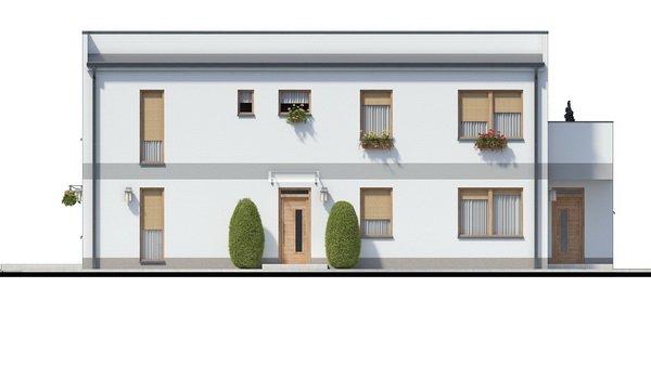 Pohľad 3. - Murovaný dom s dvoma bytovými jednotkami a samostatnými vstupmi. Dom môže byť zrealizovaný aj s pultovou strechou, prípadne valbovou.