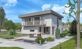 Projekt domu je vhodný na úzky pozemok, je poschodový s prekrytou terasou, nízkoenergetický, prízemie je v tvare L, možnosť zrealizovať valbovú alebo sedlovú strechu.