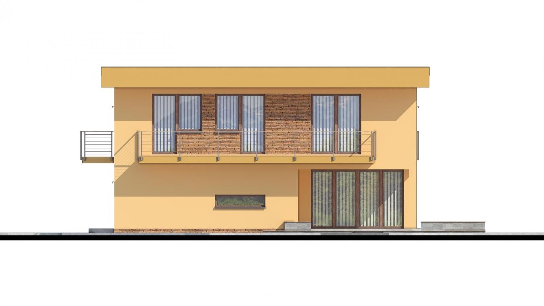 Pohľad 2. - Projekt domu je vhodný na úzky pozemok, je poschodový s prekrytou terasou, nízkoenergetický, prízemie je v tvare L, možnosť zrealizovať aj s valbovou alebo sedlovou strechou.