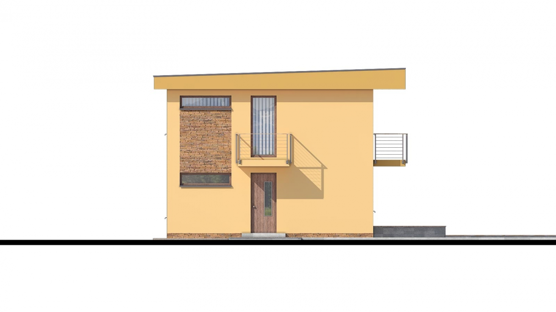 Pohľad 1. - Projekt domu je vhodný na úzky pozemok, je poschodový s prekrytou terasou, nízkoenergetický, prízemie je v tvare L, možnosť zrealizovať aj s valbovou alebo sedlovou strechou.