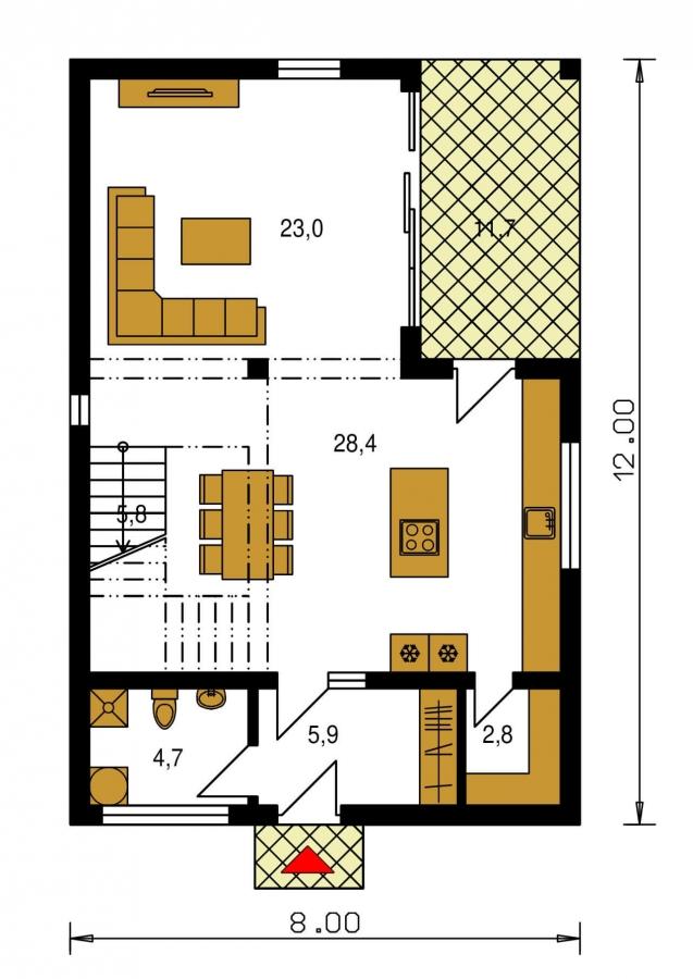 Pôdorys Prízemia - Projekt domu je vhodný na úzky pozemok. Ide o poschodový rodinný dom s prekrytou terasou.