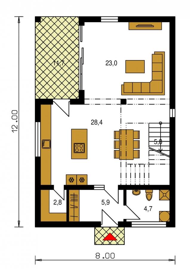 Pôdorys Prízemia - Projekt domu je vhodný na úzky pozemok, je poschodový s prekrytou terasou, nízkoenergetický, prízemie je v tvare L, možnosť zrealizovať aj s valbovou alebo sedlovou strechou.
