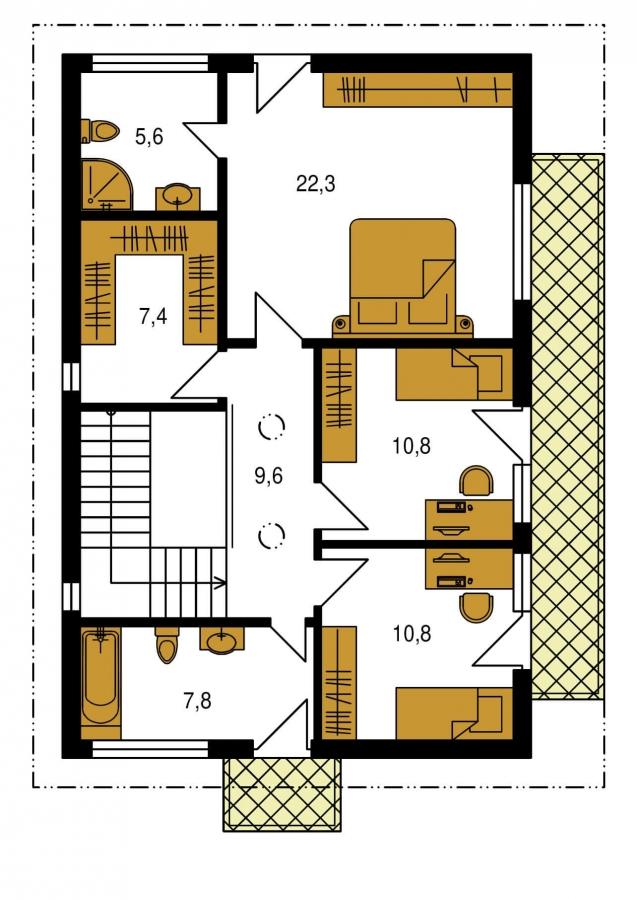 Pôdorys Poschodia - Projekt domu je vhodný na úzky pozemok. Ide o poschodový rodinný dom s prekrytou terasou.