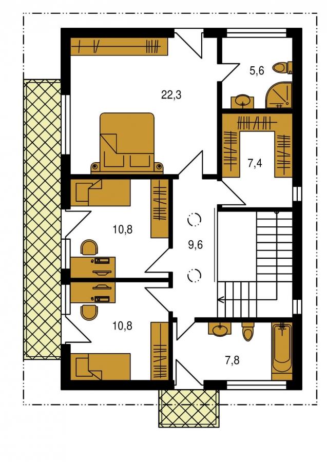 Pôdorys Poschodia - Projekt domu je vhodný na úzky pozemok, je poschodový s prekrytou terasou, nízkoenergetický, prízemie je v tvare L, možnosť zrealizovať aj s valbovou alebo sedlovou strechou.