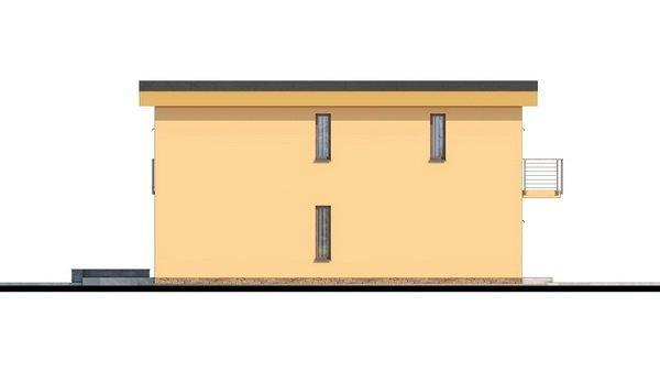 Pohľad 1. - Projekt domu je vhodný na úzky pozemok, je poschodový s prekrytou terasou, nízkoenergetický, prízemie je v tvare L, možnosť zrealizovať valbovú alebo sedlovú strechu.