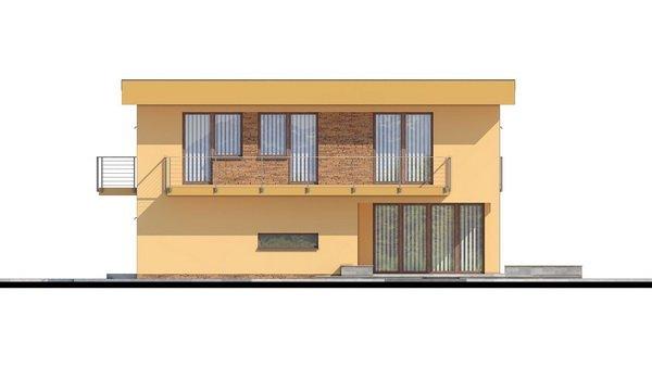 Pohľad 2. - Projekt domu je vhodný na úzky pozemok, je poschodový s prekrytou terasou, nízkoenergetický, prízemie je v tvare L, možnosť zrealizovať valbovú alebo sedlovú strechu.