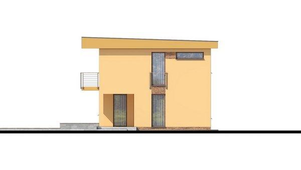 Pohľad 4. - Projekt domu je vhodný na úzky pozemok, je poschodový s prekrytou terasou, nízkoenergetický, prízemie je v tvare L, možnosť zrealizovať valbovú alebo sedlovú strechu.