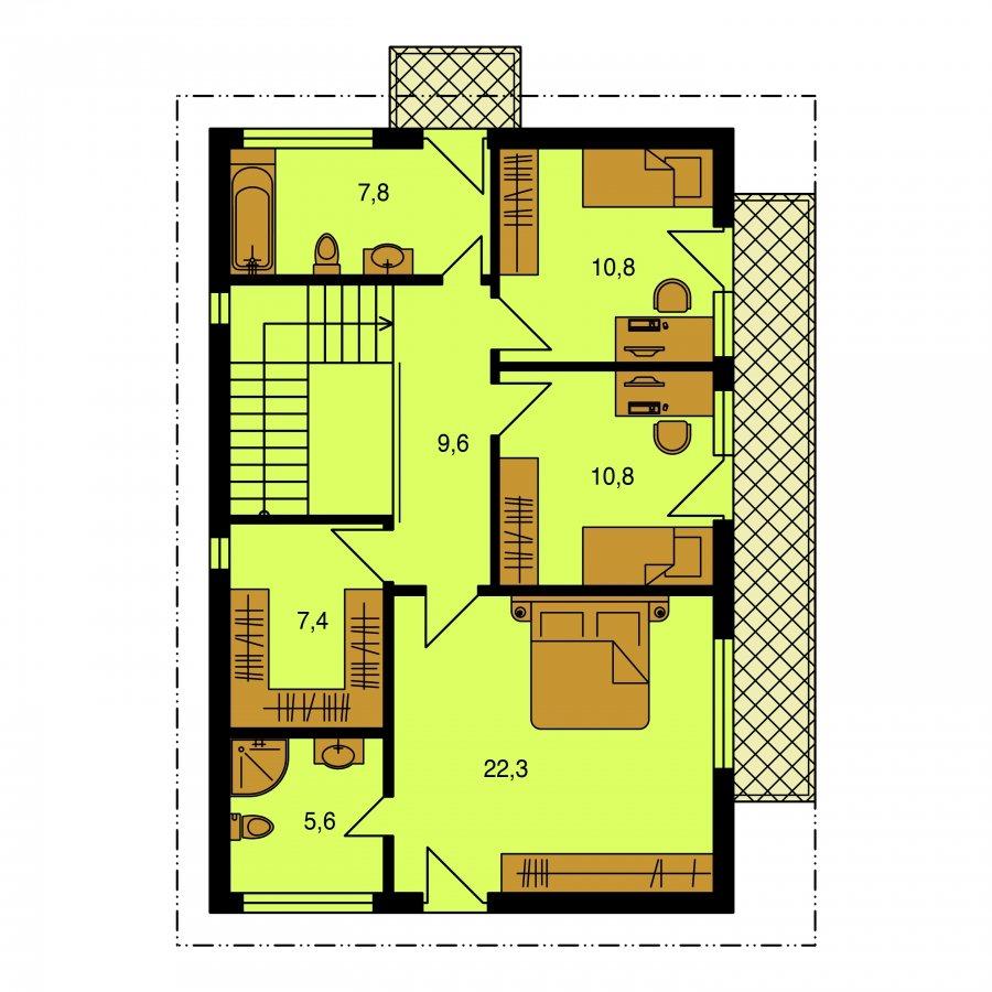 Pôdorys Poschodia - Poschodový dom ne úzky pozemok