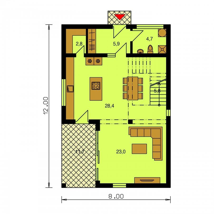 Pôdorys Prízemia - Poschodový dom ne úzky pozemok