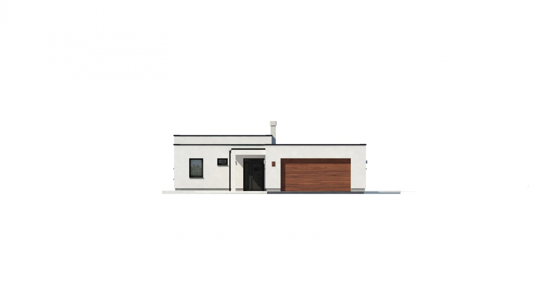 Pohľad 1. - Átriový dom s plochou strechou a dvojgarážou, v tvare U, vhodný aj na užší pozemok. Spoločenská časť domu je orientovaná do átria.