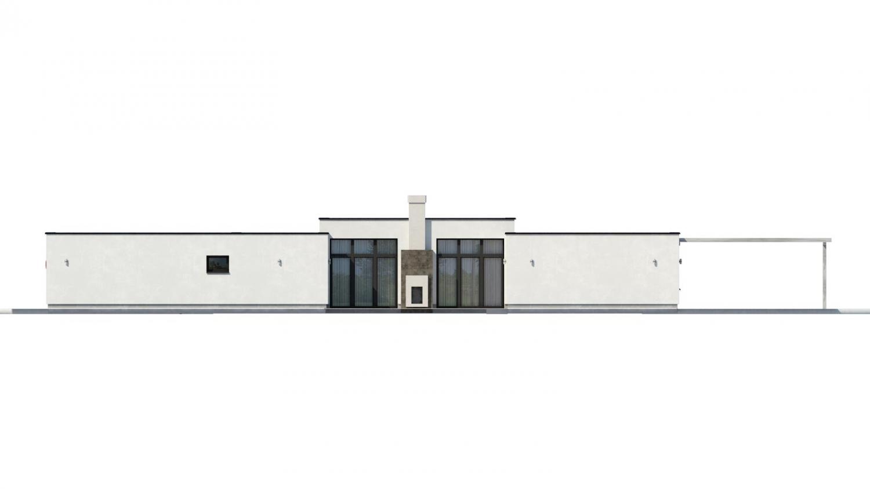 Pohľad 3. - Átriový dom s plochou strechou a dvojgarážou, v tvare U, vhodný aj na užší pozemok. Spoločenská časť domu je orientovaná do átria.