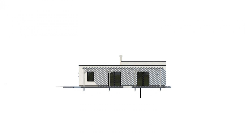 Pohľad 4. - Átriový dom s plochou strechou a dvojgarážou, v tvare U, vhodný aj na užší pozemok. Spoločenská časť domu je orientovaná do átria.