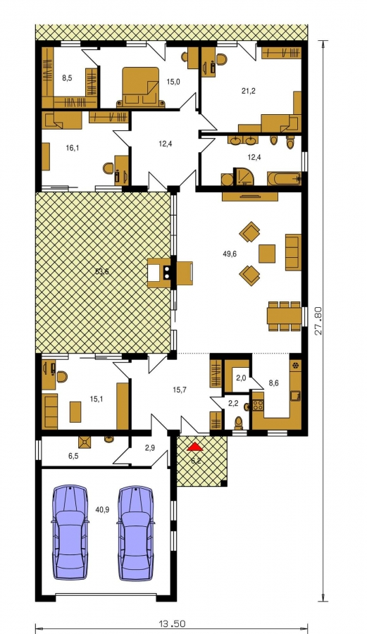 Pôdorys Prízemia - Átriový dom s plochou strechou a dvojgarážou, v tvare U, vhodný aj na užší pozemok. Spoločenská časť domu je orientovaná do átria.