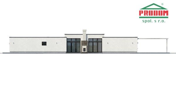 Pohľad 2. - Átriový dom s plochou strechou a dvojgarážou, v tvare U, vhodný aj na užší pozemok, spoločenská časť domu je orientovaná do átria