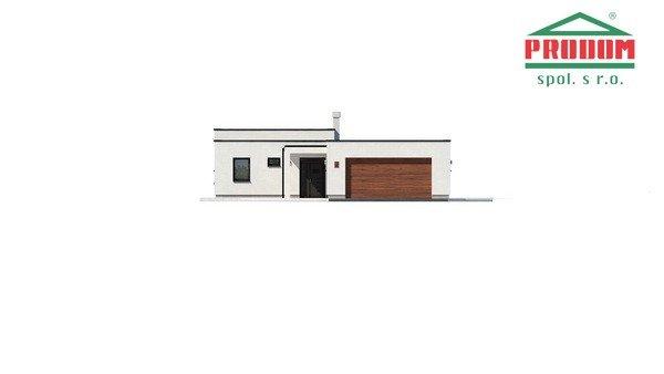 Pohľad 3. - Átriový dom s plochou strechou a dvojgarážou, v tvare U, vhodný aj na užší pozemok, spoločenská časť domu je orientovaná do átria