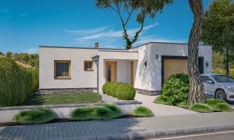 Moderný átriový rodinný dom v tvare U s garážou, plochou strechou. Vhodný aj na úzky pozemok.