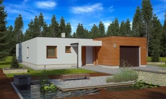 Moderný átriový rodinný dom v tvare U s garážou, vhodný aj na úzky pozemok s oddelenou dennou a nočnou časťou, možnosť realizácie aj s valbovou strechou