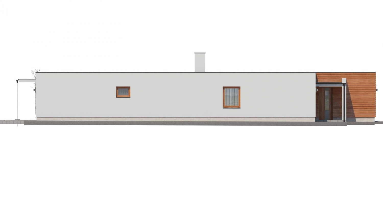 Pohľad 4. - Moderný átriový rodinný dom v tvare U s garážou, plochou strechou. Vhodný aj na úzky pozemok.