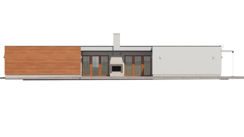 Pohľad 2. - Moderný átriový rodinný dom v tvare U s garážou, plochou strechou. Vhodný aj na úzky pozemok.