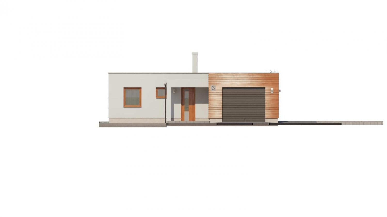 Pohľad 1. - Moderný átriový rodinný dom v tvare U s garážou, plochou strechou. Vhodný aj na úzky pozemok.