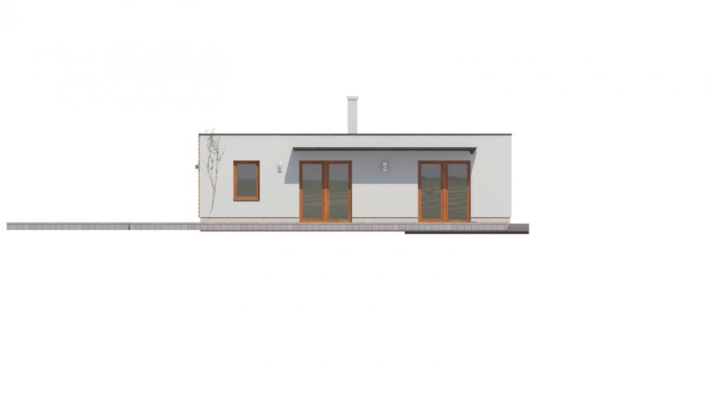 Pohľad 3. - Moderný átriový rodinný dom v tvare U s garážou, plochou strechou. Vhodný aj na úzky pozemok.