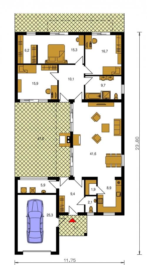 Pôdorys Prízemia - Moderný átriový rodinný dom v tvare U s garážou, plochou strechou, vhodný aj na úzky pozemok, možnosť realizácie aj s valbovou strechou