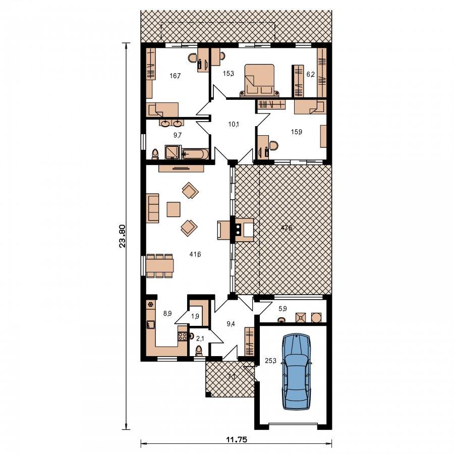Pôdorys Prízemia - Moderný átriový rodinný dom s garážou