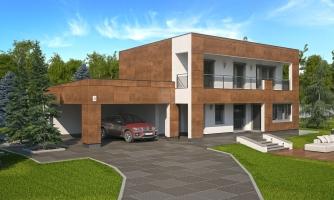 Moderný poschodový dom s plochou strechou a prístreškom pre autá. Vhodný na úzky pozemok. Je možnosť realizovať bez prístrešku, prípadne prístrešok upraviť na garáž.