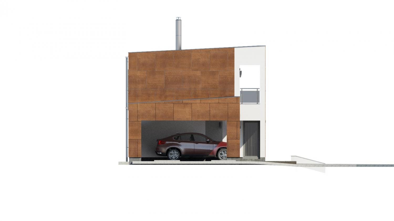 Pohľad 4. - Moderný poschodový dom s plochou strechou a prístreškom pre autá. Vhodný na úzky pozemok. Je možnosť realizovať bez prístrešku, prípadne prístrešok upraviť na garáž.