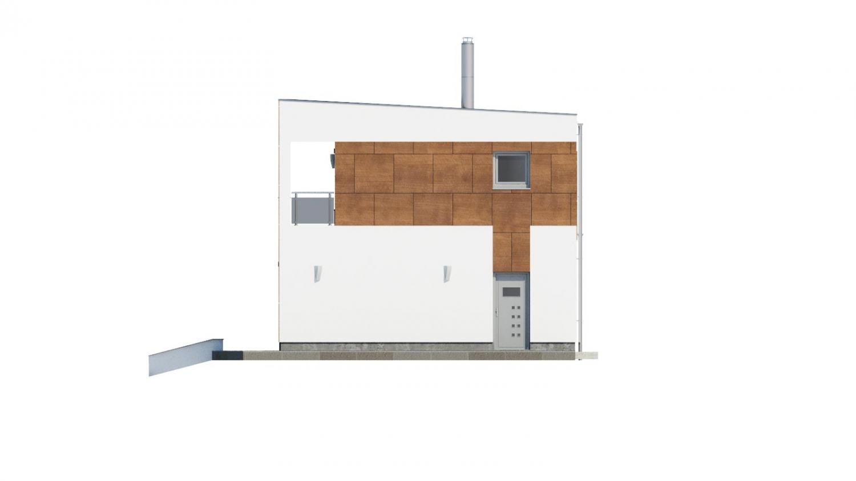 Pohľad 2. - Moderný poschodový dom s plochou strechou a prístreškom pre autá. Vhodný na úzky pozemok. Je možnosť realizovať bez prístrešku, prípadne prístrešok upraviť na garáž.